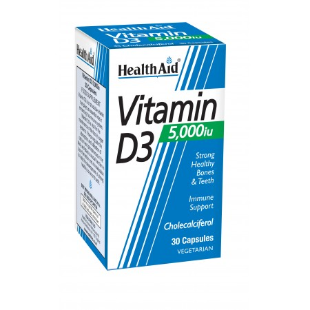 HEALTH AID VIT D3 5000IU 30vcaps