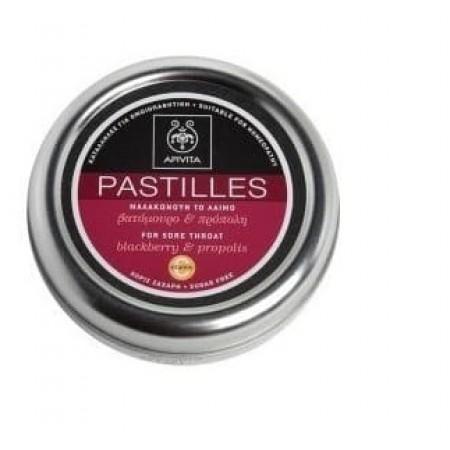APIVITA PASTILLES TINS BLACKBERRY & PROPOLIS 45GR