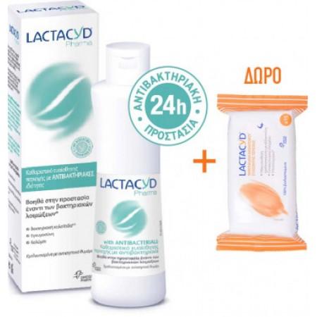 LACTACYD PHARMA ANTIBACTERIAL 250ML + WIPES 15PCS
