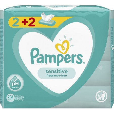 PAMPERS WIPES SENSITIVE 4X52 (2+2)