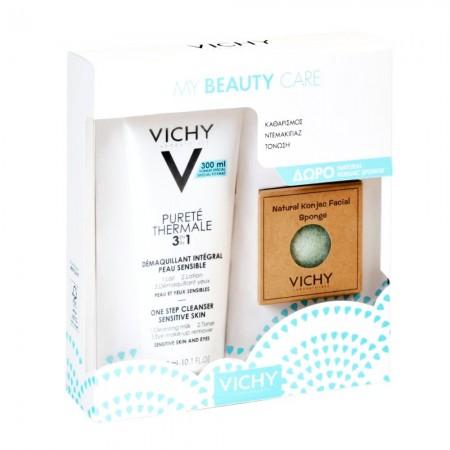Vichy Promo My Beauty Care Purete Thermale 3in1 Γαλάκτωμα Καθαρισμού 300ml & Δώρο Φυσικό Σφουγγάρι K