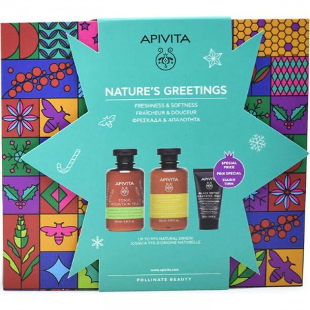 APIVITA NATURE'S GREETINGS ΠΑΚΕΤΟ TONIC MOUNTAIN TEA ΑΦΡ & ΣΑΜΠ2*2