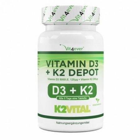 VIT4EVER  VITAMIN D3 5000 + K2 200 180 TABS