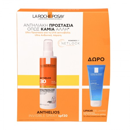 La Roche Posay SET Anthelios Invisible Spray SPF30 200ml & ΔΩΡΟ Lipikar Soothing Protective Shower G
