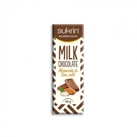 SUKRIN MILK CHOCOLATE ALMONDS & SEA SALT 40gr